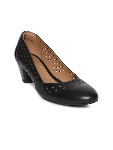 Clarks Women Black Solid Leather Pumps with Laser Cuts Clarks Heels at myntra