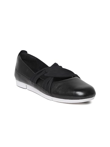 Clarks Women Black Leather Slip-On Sneakers Clarks Casual Shoes at myntra