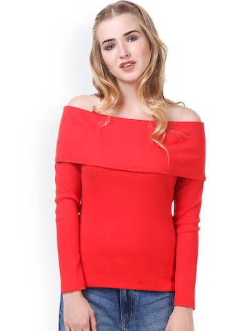 Texco Women Red Solid Bardot Top Texco Tops at myntra