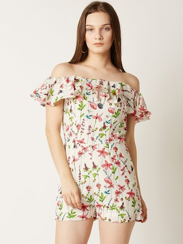 Miss Chase White Printed Bardot Playsuit Miss Chase Jumpsuit at myntra