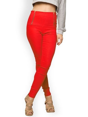Miss Chase Red Slim Fit Jeggings Miss Chase Jeggings at myntra