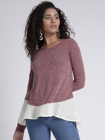 Chemistry Women Burgundy Colourblocked A-Line Top Chemistry Tops at myntra