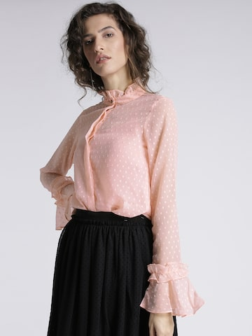 Chemistry Women Peach-Coloured Self-Design Semi-Sheer Shirt Chemistry Shirts at myntra