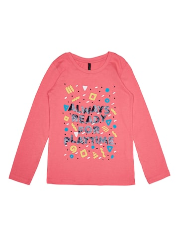 United Colors of Benetton Girls Pink Solid Top United Colors of Benetton Tops at myntra