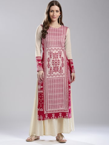 W Women Pink & Beige Woven Design Straight Winter Kurta W Kurtas at myntra