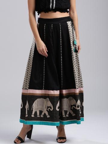 W Black & Beige Self-Design Maxi Flared Skirt W Skirts at myntra