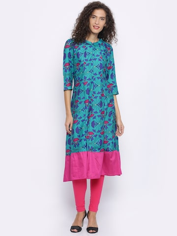 Melange by Lifestyle Women Teal Blue & Magenta Printed A-Line Kurta Melange by Lifestyle Kurtas at myntra