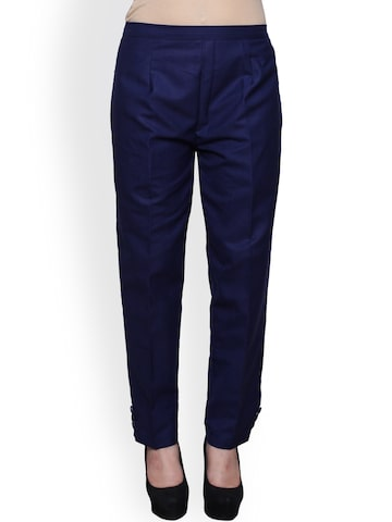 Castle Women Navy Blue Smart Regular Fit Solid Trousers Castle Trousers at myntra