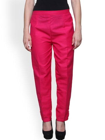Castle Women Magenta Smart Regular Fit Solid Trousers Castle Trousers at myntra