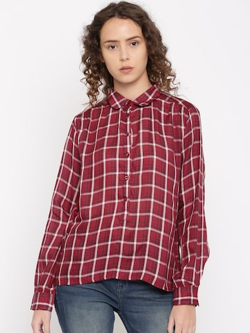 Flying Machine Women Red & White Boxy Checked Casual Shirt Flying Machine Shirts at myntra