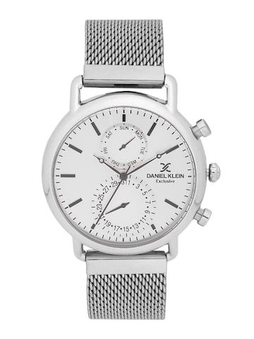 Daniel Klein Exclusive Men Silver-Toned Multifunction Watch DK11479-4 Daniel Klein Watches at myntra