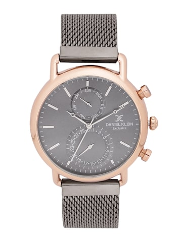 Daniel Klein Men Gunmetal-Toned Multifunction Watch Daniel Klein Watches at myntra