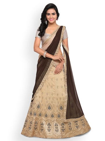 Triveni Beige Semi-Stitched Lehenga Choli with Dupatta Triveni Lehenga Choli at myntra