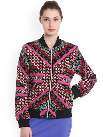 United Colors of Benetton Women Multicoloured Printed Bomber United Colors of Benetton Jackets at myntra
