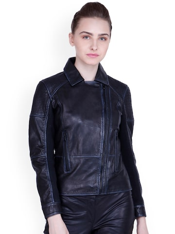 Justanned Women Black Solid Leather Biker Jacket Justanned Jackets at myntra