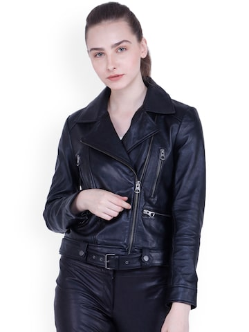 Justanned Women Black Solid Leather Jacket Justanned Jackets at myntra