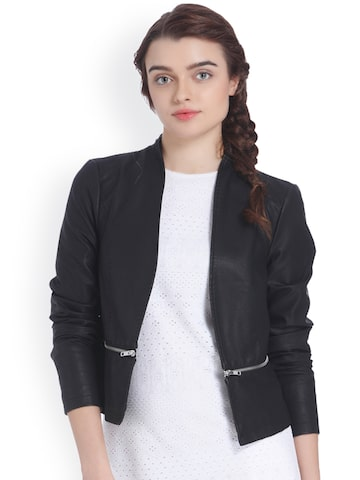 Vero Moda Women Black Solid Open Front Jacket Vero Moda Jackets at myntra