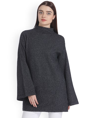 Vero Moda Women Charcoal Grey Longline Sweater Vero Moda Sweaters at myntra
