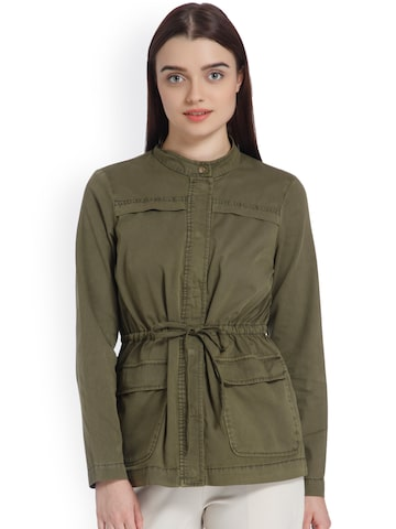 Vero Moda Women Olive Green Solid Tailored Jacket Vero Moda Jackets at myntra