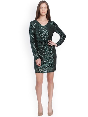 Vero Moda Women Green Sequinned Sheath Dress Vero Moda Dresses at myntra