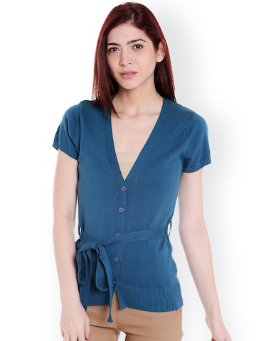 Noi Women Teal Blue Solid Top Noi Tops at myntra