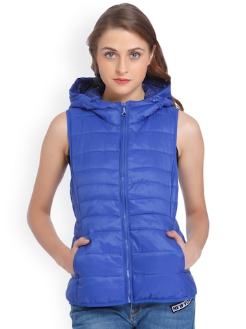 ONLY Women Blue Solid Puffer Jacket ONLY Jackets at myntra