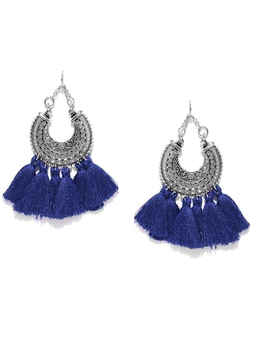 Zaveri Pearls Blue Oxidised Silver-Plated Chandbalis Zaveri Pearls Earrings at myntra