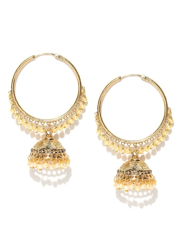 Zaveri Pearls Cream-Coloured Gold-Plated Hoop Earrings Zaveri Pearls Earrings at myntra