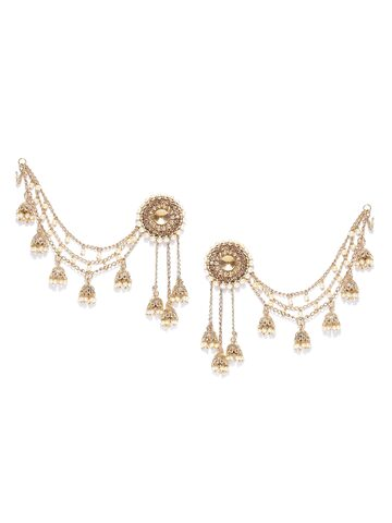 Zaveri Pearls Off-White Gold-Plated Stone-Studded Beaded Jhumkas Zaveri Pearls Earrings at myntra