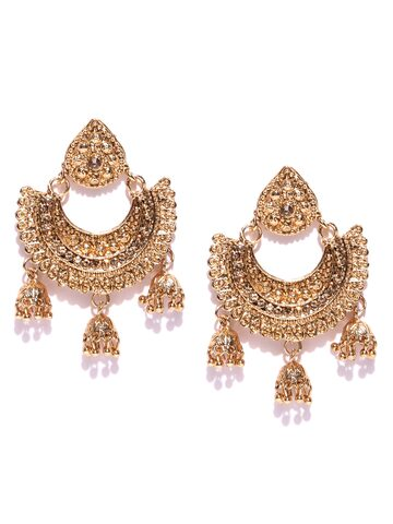 Zaveri Pearls Gold-Plated Stone-Studded Crescent Shaped Chandbalis Zaveri Pearls Earrings at myntra