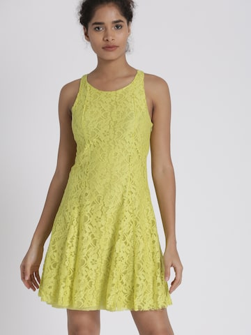 Chemistry Women Lime Green Self-Design A-Line Dress Chemistry Dresses at myntra