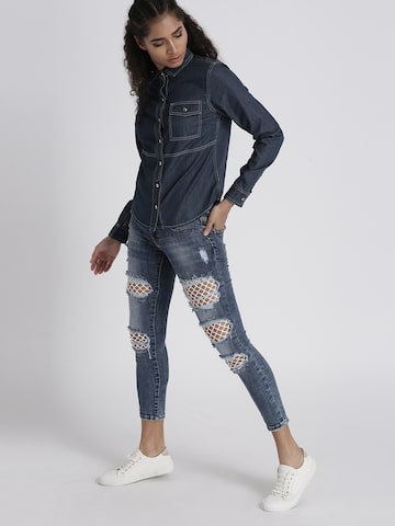 Chemistry Women Blue Regular Fit Solid Denim Shirt Chemistry Shirts at myntra