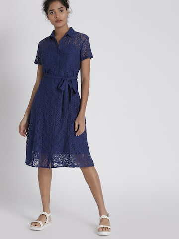 Chemistry Women Blue Self Design Fit and Flare Dress Chemistry Dresses at myntra