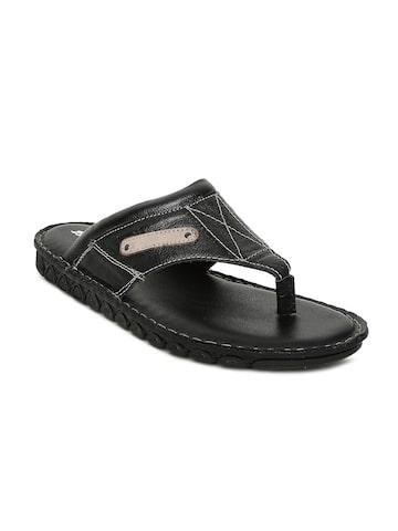 Bata Men Black Leather Comfort Sandals Bata Sandals at myntra