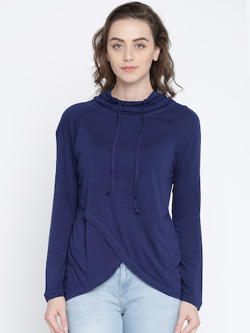Lee Cooper Women Navy Blue Solid Hooded T-shirt Lee Cooper Tshirts at myntra