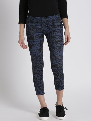 Chemistry Women Black & Blue Tapered Fit Printed Regular Trousers Chemistry Trousers at myntra