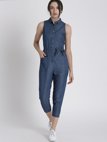 Chemistry Blue Solid Basic Jumpsuit Chemistry Jumpsuit at myntra