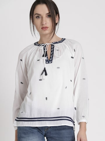 Chemistry Women White Self-Design Top Chemistry Tops at myntra