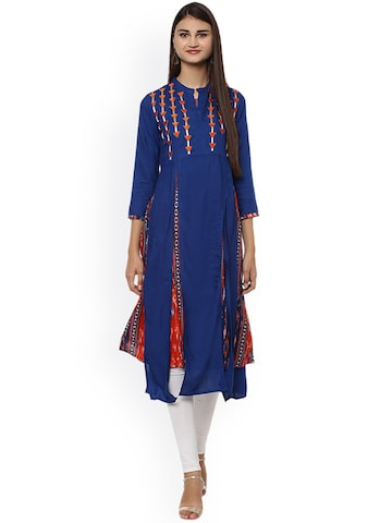 Prakhya Women Blue & Orange Printed Layered Anarkali Kurta Prakhya Kurtas at myntra