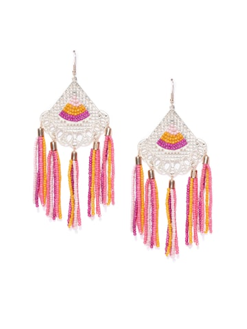 Blueberry Gold-Toned & Pink Tasselled Beaded Drop Earrings Blueberry Earrings at myntra