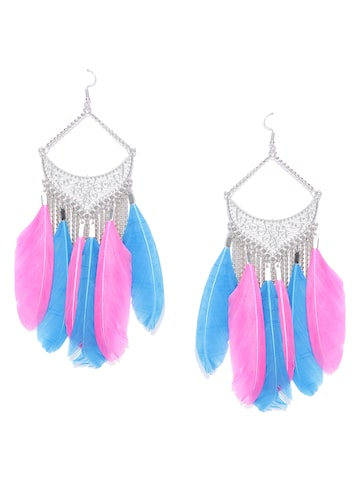 Blueberry Oxidised Silver-Toned & Blue Feather-Shaped Drop Earrings Blueberry Earrings at myntra