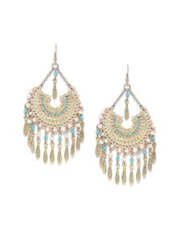 Blueberry Antique Gold-Toned & Turquoise Blue Tasselled Chandbalis Blueberry Earrings at myntra