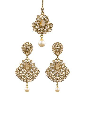 Sia Art Jewellery Gold-Toned & White Embellished Jewellery Set Sia Art Jewellery Jewellery Set at myntra