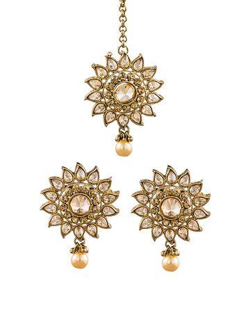 Sia Art Jewellery Gold-Toned & White Jewellery Set Sia Art Jewellery Jewellery Set at myntra