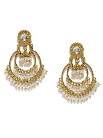 Fida Gold-Toned & White Crescent Shaped Drop Earrings Fida Earrings at myntra