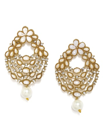 Fida Gold-Toned & White Floral Drop Earrings Fida Earrings at myntra