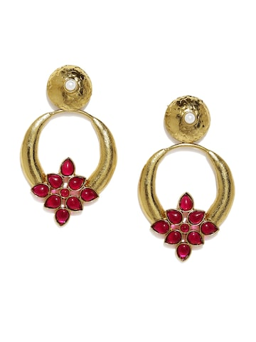 Fida Gold-Toned & Pink Circular Drop Earrings Fida Earrings at myntra
