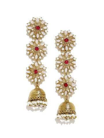 Fida Gold-Toned & White Floral Jhumkas Fida Earrings at myntra