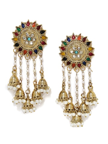 Fida Antique Gold-Toned Embellished Handcrafted Dome Shaped Jhumkas Fida Earrings at myntra