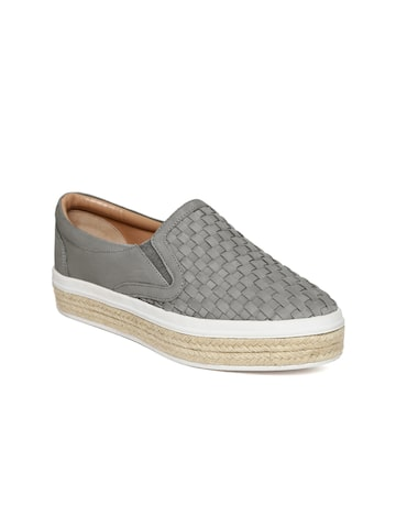 Carlton London Women Grey Basketweave-Pattern Leather Slip-Ons Carlton London Casual Shoes at myntra